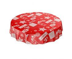 ANRO Wachstuchtischdecke Wachstuch abwaschbar Tischdecke Weihnachten Weihnachtsstimmung Rot Rund 140cm, Schnittkante