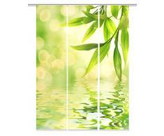 Home fashion 88918-168 grün MARSEILLE Digitaldruck Schiebevorhang, Stoff, grün, 245 x 60 x 245 cm