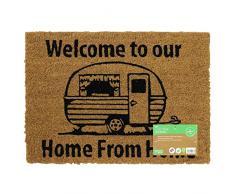 JVL Fußmatte Caravan Mottoparty Rückseite Fußmatte Home Design, 36 x 50 cm, Kokosfaser + Latex, braun, 36 x 50 x 1,5 cm