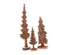 Holzdekoration Deko-Holzbaum im 3er Set, aus Massivholz mit Naturrinde, tolle Dekoration für Winterwald-Feeling im Wohnzimmer