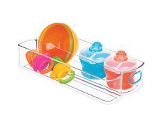 iDesign IDjr Kombi Aufbewahrungsbehälter mit 2 Fächern für Schrank oder Vorratskammer, Küchenhelfer aus Kunststoff, durchsichtig und blaugrün