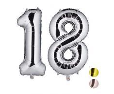 Relaxdays Folienballon Zahl 18, Party Deko für 18. Geburtstag, XXL Riesenluftballon für Luft & Helium, 85-100cm, Silber