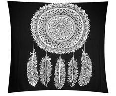Lewondr Mandala Tapisserien, Böhmische Psychedelische Tagesdecke Picknick Strand Wirft Decke Wandbehang Home Decor Tapisserie, Runde Blume, Schwarz & Weiß, 83 X 59 Zoll