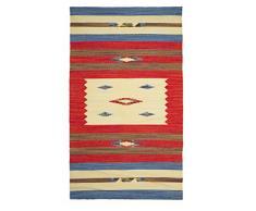 Jute & Co Kelim Teppich aus hochwertigem Baumwolle, handgewebt, Mehrfarbig, 90 x 150 cm