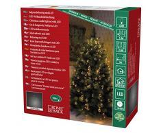 Konstsmide 6361-820 LED Lichterkette Baummantel / für Innen (IP20) / VDE geprüft / 24V Innentrafo / 200 bernsteifarbene Dioden / dunkelgrünes Kabel