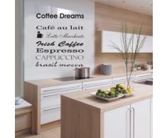 INDIGOS WG10028-80 Wandtattoo W028 Kaffee, Coffee, Kaffeetraum, Coffeedream Wandaufkleber 80 x 73, braun