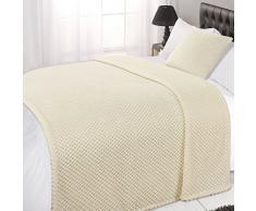Dreamscene Waffel Honeycomb Mink weicher Warm Überwurf über Sofa Bett Decke, 150 x 200 cm, cremefarben