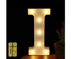 Funrui Markisen-LED-Lichterkette mit 26 Alphabet-Lichtern, beleuchtet, für Schlafzimmer, Nachtlicht, Hochzeit, Geburtstag, Party, Festival, Valentinstag, batteriebetrieben, Dekoration für Zuhause, Bar-Dekoration I