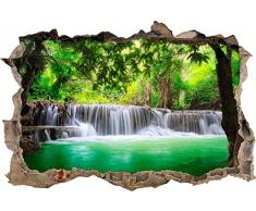 Pixxprint 3D_WD_S2501_92x62 wunderschöner Wasserfall im Wald Wanddurchbruch 3D Wandtattoo, Vinyl, bunt, 92 x 62 x 0,02 cm