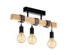 EGLO Deckenlampe Townshend, 3 flammige Vintage Deckenleuchte im Industrial Design, Retro Pendelleuchte aus Stahl und Holz, Farbe: schwarz, braun, Fassung: E27