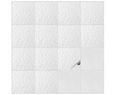 Fliesenaufkleber für Bad und Küche - 15x15 cm - Dekor Weißer Stein - 50 Fliesensticker für Wandfliesen