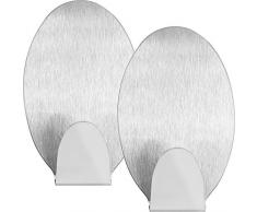 mumbi Handtuchhalter selbstklebend Handtuchhaken ohne Bohren Klebehaken oval Edelstahl 2er Set