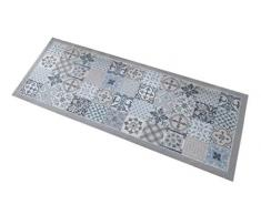 oKu-Tex Fußmatte | Schmutzfangmatte | Mosaik Muster Bunt | Deco-Style | Türvorleger für innen | rutschfest | grau/hellblau | 45x75 cm