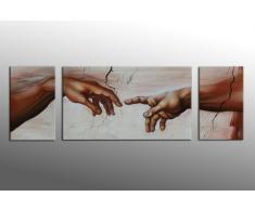 Bilderdepot24 Wandbild Michelangelo Hände 165x50cm - Handgemalt