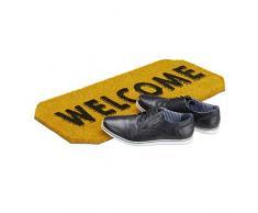 Relaxdays Fußmatte Welcome Kokos, HxBxT: 1,5 x 70 x 33 cm, wasserfest, rutschfest, willkommen, Kokosfasern, Gummi, gelb