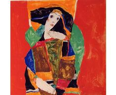Legendarte PL-076 Wandbild Einer Frau. Digitaldruck auf Leinwand Egon Schiele Farbe, Mehrfarbig, 60 x 60 cm