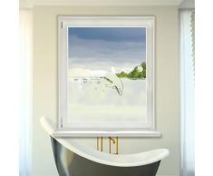 Graz Design 980084_90x57 Fensterdekor Milchglasfolie Sichtschutz Folie Badezimmer Delfin (Größe=90x57cm)