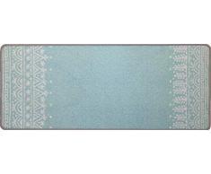 oKu-Tex Fußmatte | Schmutzfangmatte | Deco-Flair | Retro Design | Türvorleger für innen | rutschfest | skandinavisches blau | 45x75 cm