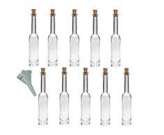 Viva Haushaltswaren - 10 x Glasflasche Platina 40 ml mit Korken, elegante Gastgeschenke im Set als Likörflasche, Schnapsflasche, Ölflasche, Essigflasche etc. verwendbar (inkl. Trichter Ø 5 cm)