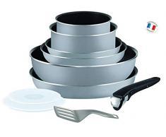 Tefal L2149602 Set von Töpfen und Pfannen - Ingenio 5 Essential Grau Set 10 Stück - Alles außer Induktion