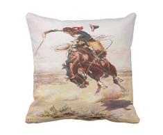 Emvency Überwurf Kissenbezug Vintage Wild West Cowboy auf Bucking Horse Western Dekoratives Kissen Fall Home Decor Quadratisch Kissen Kissenbezüge, Baumwolle, Weiß, 20 X 20 inch