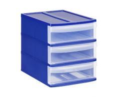 Rotho Schubladenbox Systemix Tower aus Kunststoff, Ablagebox Grösse S, 26.5x19.2x23.3 cm, transparent/blaues Ablagesystem, DIN A5 Bürobox für Schreibtisch, Büro, uvm., Hergestellt in der Schweiz, 1114606149