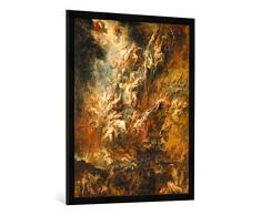Gerahmtes Bild von Peter Paul Rubens Der Höllensturz der Verdammten, Kunstdruck im hochwertigen handgefertigten Bilder-Rahmen, 70x100 cm, Schwarz matt