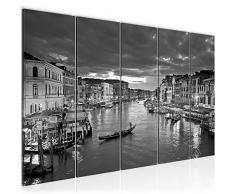 Bilder Venedig Italien Wandbild 200 x 80 cm Vlies - Leinwand Bild XXL Format Wandbilder Wohnzimmer Wohnung Deko Kunstdrucke Grau 5 Teilig - MADE IN GERMANY - Fertig zum Aufhängen 604355c