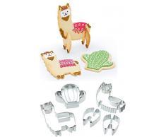 KitchenCraft sdiccllama Sweetly Does It 3D Lama Ausstechformen (5-teilig), Metallic