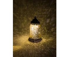 H&D® Original-Glas Laterne mit metalabdeckung LED antik Gold