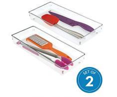 iDesign Linus Schubladenorganizer, großer Schubladeneinsatz aus Kunststoff für Utensilien, 2er-Set Aufbewahrungsboxen, durchsichtig