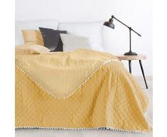 Design91 Tagesdecke Steppdecke Bettüberwurf Doppelseitig Gesteppt Muster mit Bommeln Pompon, Kunststoff, Gelb, 220x240 cm