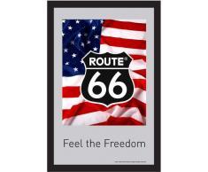 empireposter - Route 66 - Amerikanische Flagge - Größe (cm), ca. 20x30 - Bedruckter Spiegel, NEU - Beschreibung: - Bedruckter Wandspiegel mit schwarzem Kunststoffrahmen in Holzoptik -