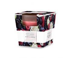 pajoma Duftkerze im satinierten Glas Geschenk Set Lange Brenndauer Duft wählbar (Roses & Berries)