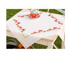 Vervaco Tischdecke Eine Lustige Reihe Voller Fliegenpilze bedruckte Decke/ Läufer mit Webrand, Baumwolle, Mehrfarbig, 80.0 x 80.0 x 0.30000000000000004 cm, 1 Einheiten