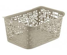 Rotho Urban kleiner Aufbewahrungskorb, Kunststoff (PP), cappuccino, 5 Liter (28 x 20,4 x 13 cm)