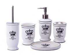 GMMH Landhaus Vintage BadSet Krone Badezimmer Zubehör Set Seifenspender WC Bürste Keramik (5 er Set)