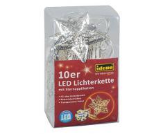 Idena Dekolichterkette Silverstar mit 10 warm weißen LED, ca. 120 cm, Plastik, silber, 31815