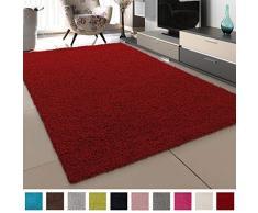 SANAT Teppich Wohnzimmer - Rot Hochflor Langflor Teppiche Modern, Größe: 200x290 cm