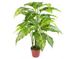 Leaf Kunstpflanze mit Blättern, einfarbig, Kunststoff, with Plain Plastic Pot