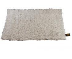 Gözze Teppich, 100% Baumwolle, Wollgarn-Hochfloroptik, 60 x 100 cm, Weiß, 1010-0000-74