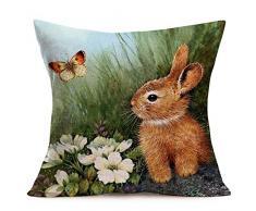 Asminifor Kissenbezug, niedliche Katzen-Tiere, mit Kopfhörern, Baumwollleinen, Dekorativer Überwurf, Kissenbezug für Couch 45,7 x 45,7 cm 18 x 18 inches Rabbit White-floral