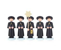 DREGENO 5 Figuren Kurrende schwarz, Gesangschor mit Stern und Laterne, von DREGENO SEIFFEN 9 cm – Original erzgebirgische Handarbeit