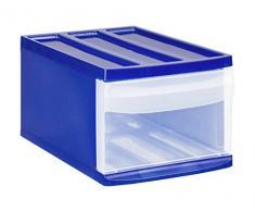 Rotho Schubladenbox Systemix aus Kunststoff (PP), Ablagefach Grösse M, 39.5x25.5x20.3 cm, blau/transparentes Ablagesystem, DIN A4 Ablagebox für Schreibtisch, Büro - Hergestellt in der Schweiz, 11460LG096