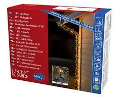 Konstsmide 3646-800 LED Lichterkette / für Außen (IP44) / VDE geprüft / 24V Außentrafo / 600 bernsteinfarbene Dioden / schwarzes Kabel