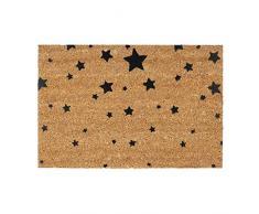 Relaxdays Fußmatte Kokos Motiv STERNE 40 x 60 Kokosmatte mit rutschfester PVC Unterlage Türmatte und Fußabtreter aus Kokosfaser als Schmutzfangmatte und Sauberlaufmatte oder Türvorleger, schwarz