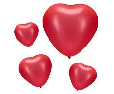 Relaxdays, red Herzluftballons rot 4er Set, Luftballons für Hochzeit, Verlobung & Valentinstag, XXL Herzballons, Ø 46 cm, Pack