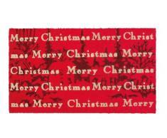 Shoe Max YH 101531 Classic Flock Fussmatte Season Greetings/Hochwertige Kokosfaser mit rutschfester PVC Unterseite, 74 x 44 cm, crimson/winterrot / gold
