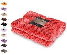 DecoKing 59128 Kuscheldecke 170x210 cm rot Decke Microfaser Wohndecke Tagesdecke Fleece weich sanft kuschelig skandinavischer Stil Henry