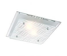 Dekorative Deckenleuchte Metall chrom Glasplatten satiniert, Dekorlinien verspiegelt - Globo 48161-2